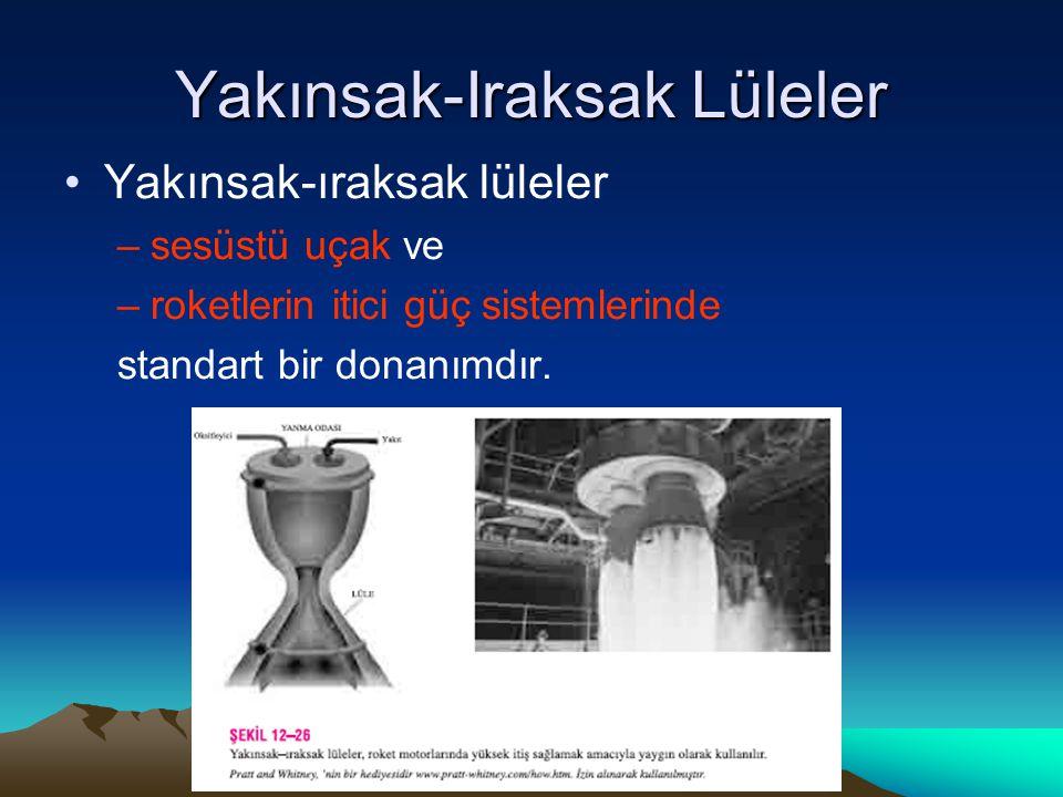 Yakınsak-Iraksak Lüleler Yakınsak-ıraksak lüleler –sesüstü uçak ve –roketlerin itici güç sistemlerinde standart bir donanımdır.