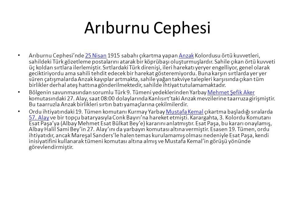 Arıburnu Cephesi Arıburnu Cephesi'nde 25 Nisan 1915 sabahı çıkartma yapan Anzak Kolordusu örtü kuvvetleri, sahildeki Türk gözetleme postalarını atarak