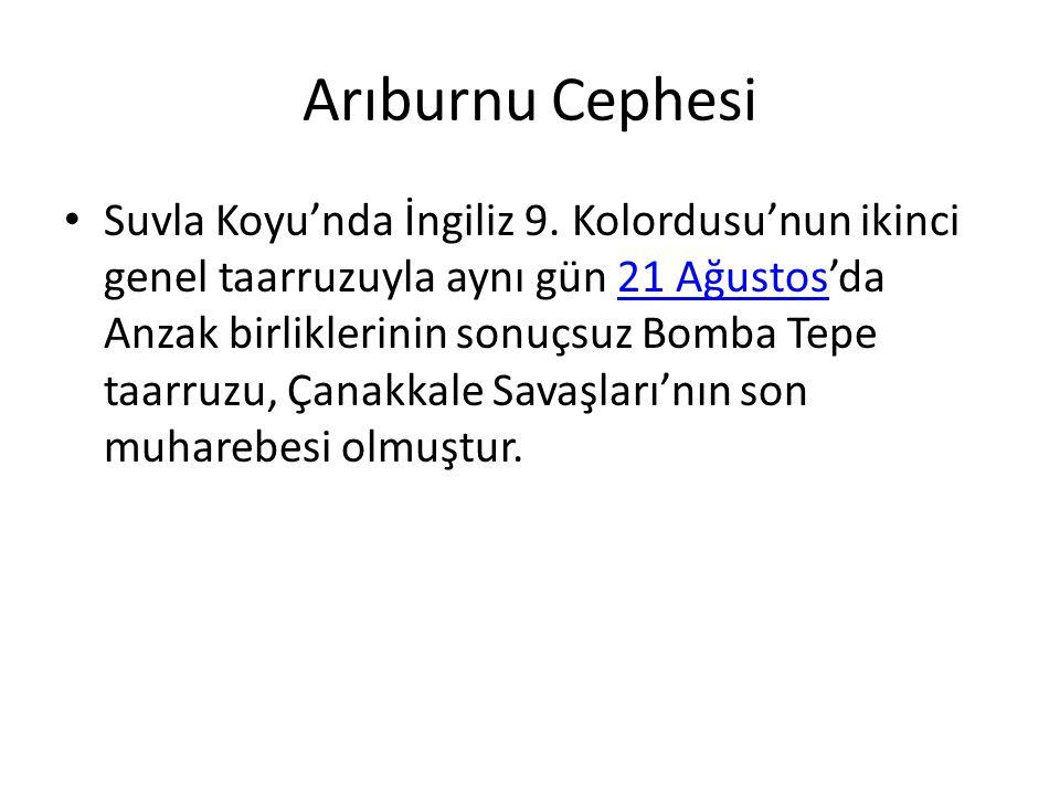 Arıburnu Cephesi Suvla Koyu'nda İngiliz 9. Kolordusu'nun ikinci genel taarruzuyla aynı gün 21 Ağustos'da Anzak birliklerinin sonuçsuz Bomba Tepe taarr