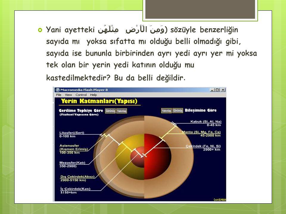  Yani ayetteki مِثْلَهُن وَمِنَ الْأَرْضِ ) sözüyle benzerliğin sayıda mı yoksa sıfatta mı olduğu belli olmadığı gibi, sayıda ise bununla birbirinden