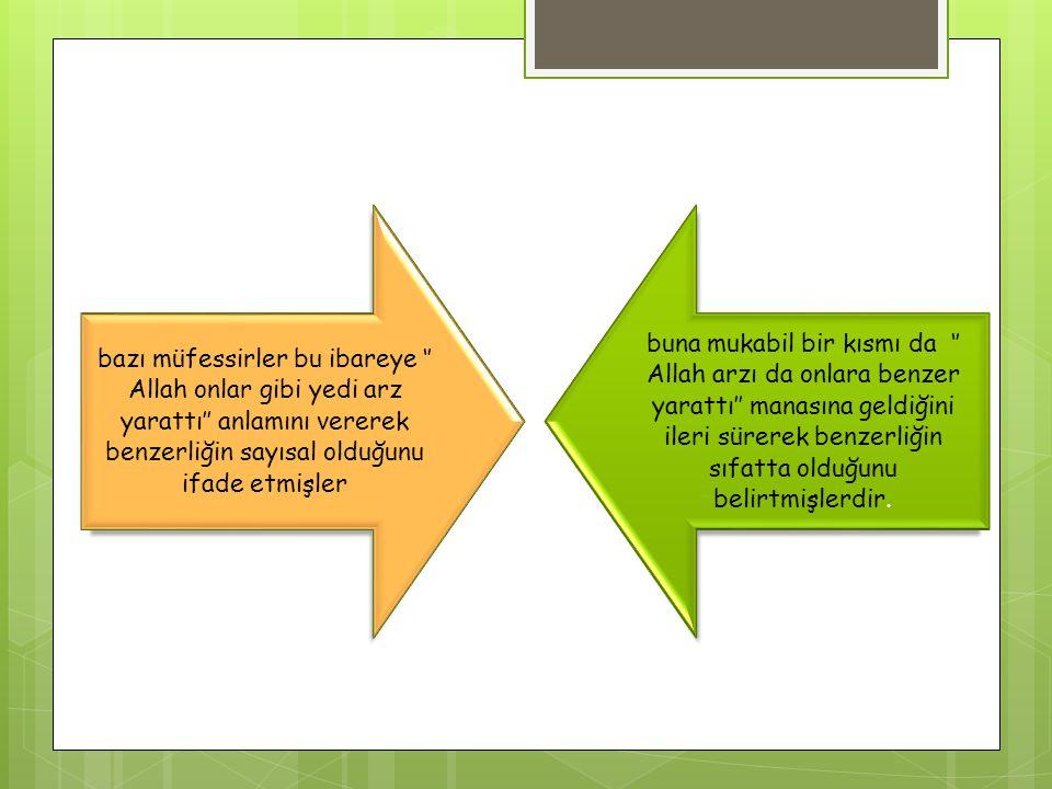 bazı müfessirler bu ibareye '' Allah onlar gibi yedi arz yarattı'' anlamını vererek benzerliğin sayısal olduğunu ifade etmişler buna mukabil bir kısmı da '' Allah arzı da onlara benzer yarattı'' manasına geldiğini ileri sürerek benzerliğin sıfatta olduğunu belirtmişlerdir.