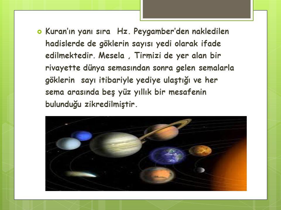  Kuran'ın yanı sıra Hz. Peygamber'den nakledilen hadislerde de göklerin sayısı yedi olarak ifade edilmektedir. Mesela, Tirmizi de yer alan bir rivaye