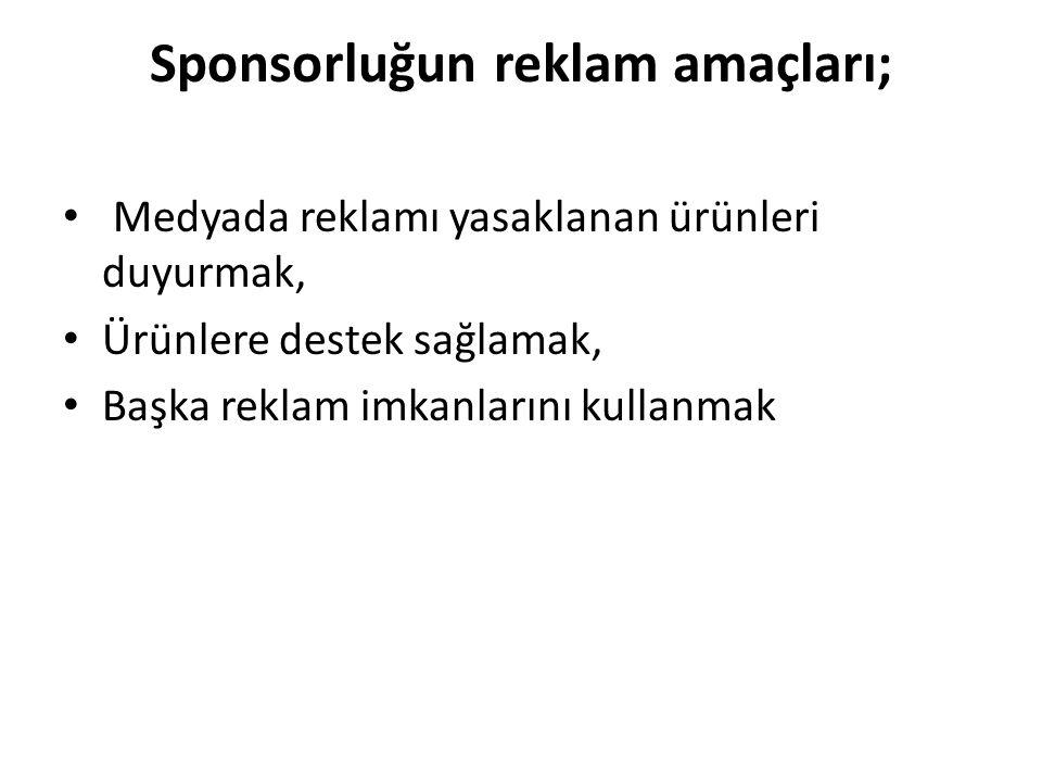 Sponsorluğun reklam amaçları; Medyada reklamı yasaklanan ürünleri duyurmak, Ürünlere destek sağlamak, Başka reklam imkanlarını kullanmak