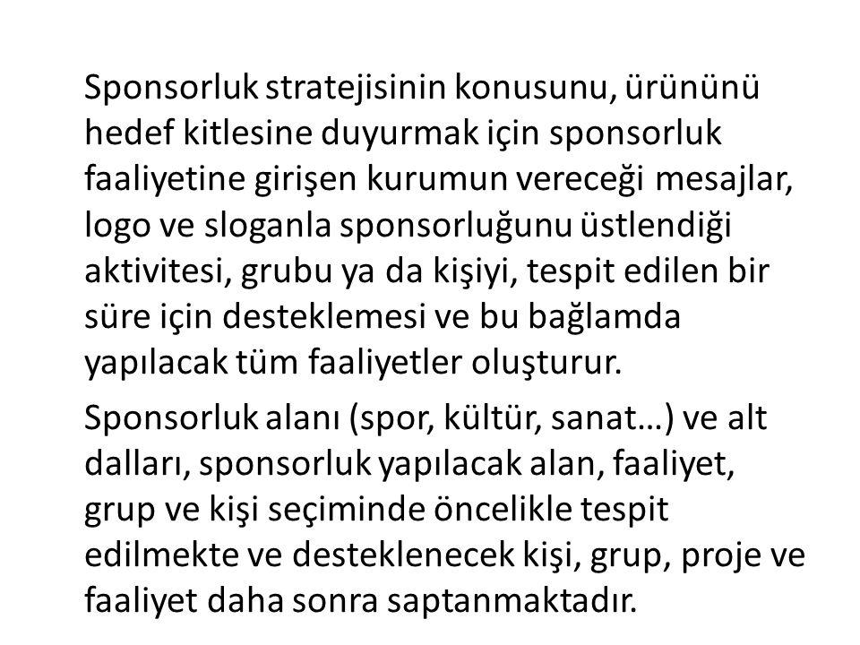 Sponsorluk stratejisinin konusunu, ürününü hedef kitlesine duyurmak için sponsorluk faaliyetine girişen kurumun vereceği mesajlar, logo ve sloganla sp