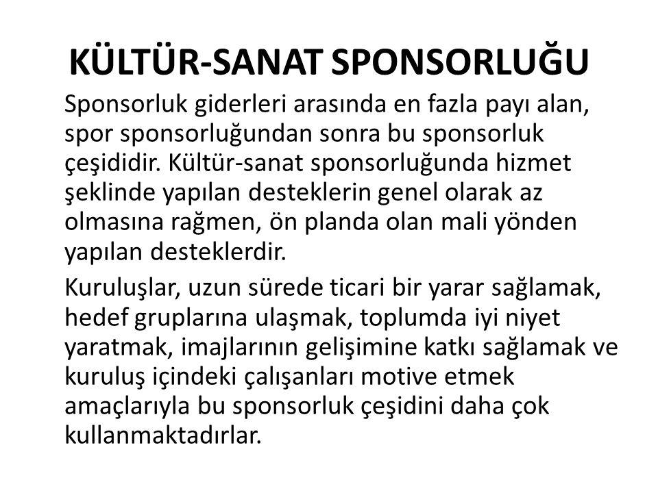 KÜLTÜR-SANAT SPONSORLUĞU Sponsorluk giderleri arasında en fazla payı alan, spor sponsorluğundan sonra bu sponsorluk çeşididir. Kültür-sanat sponsorluğ