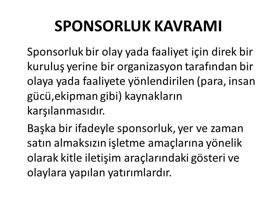 SPONSORLUK KAVRAMI Sponsorluk bir olay yada faaliyet için direk bir kuruluş yerine bir organizasyon tarafından bir olaya yada faaliyete yönlendirilen