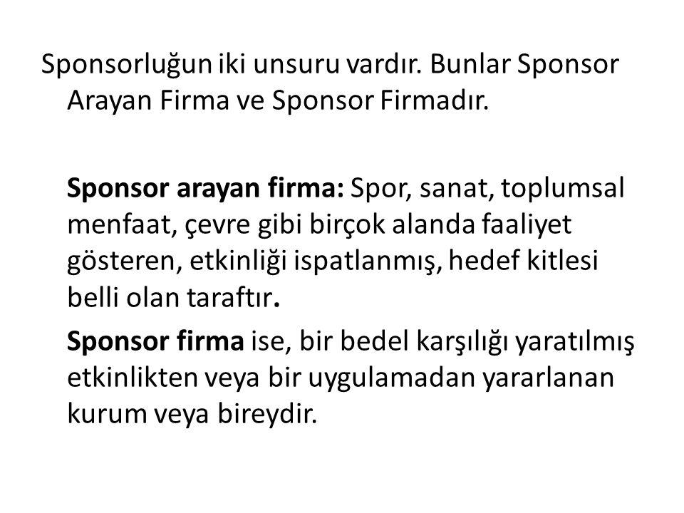 Sponsorluğun iki unsuru vardır. Bunlar Sponsor Arayan Firma ve Sponsor Firmadır. Sponsor arayan firma: Spor, sanat, toplumsal menfaat, çevre gibi birç