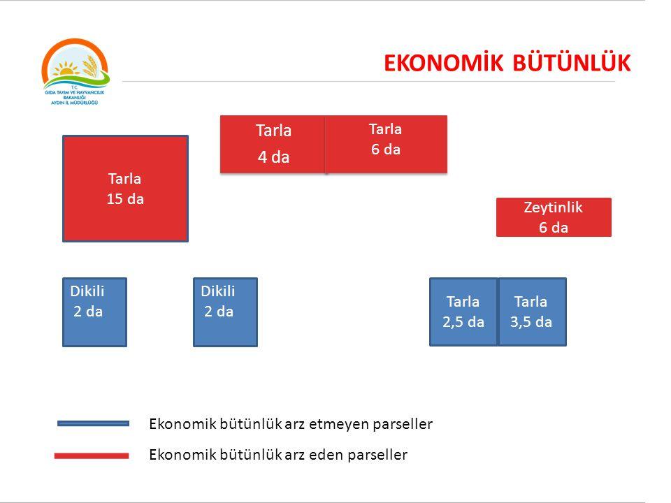 MİRAS YOLU İLE MÜLKİYET DEVRİ Sulu Tarla 4 da Sulu Tarla 4 da Sulu Tarla 6 da Sulu Tarla 6 da Dikili 2 da (İştirak ) ) Dikili 5 da (1/2 hisseli) Tarla 2,5 da Tarla 3,5 da Sulu Tarla 15 da Ekonomik bütünlüğe haiz parsellerin Kuruya dönüşüm sonucu: 137,5 da Ekonomik bütünlüğe haiz kırmızı renkli parsellerin bir mirasçıya, İştirak durumundaki parsel hariç ekonomik bütünlük arz etmeyen mavi boyalı parsellerin mirasçılara veya üçüncü kişilere aynen devri uygundur.