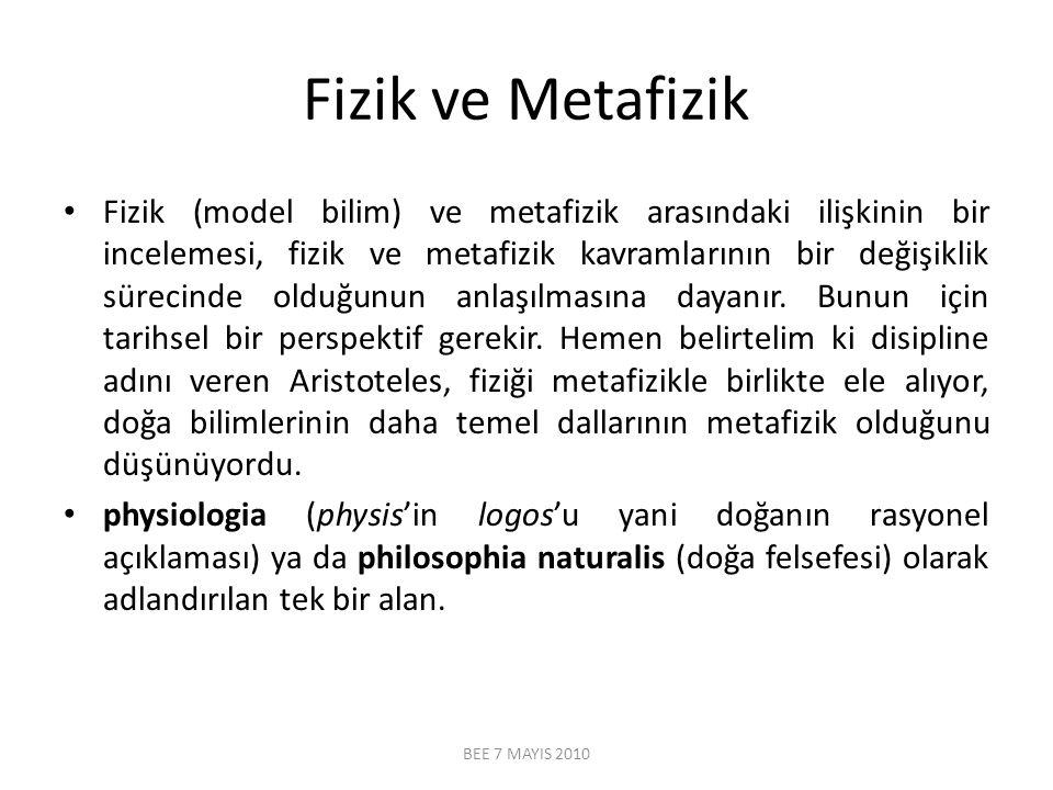 Fizik ve Metafizik Fizik (model bilim) ve metafizik arasındaki ilişkinin bir incelemesi, fizik ve metafizik kavramlarının bir değişiklik sürecinde old