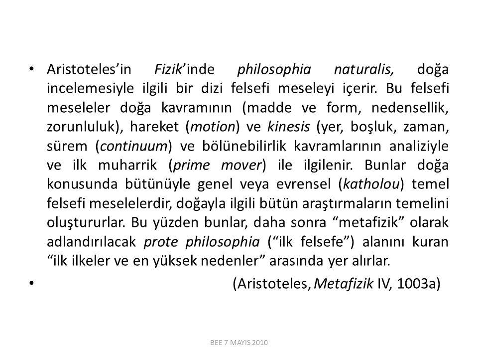 Aristoteles'in Fizik'inde philosophia naturalis, doğa incelemesiyle ilgili bir dizi felsefi meseleyi içerir. Bu felsefi meseleler doğa kavramının (mad
