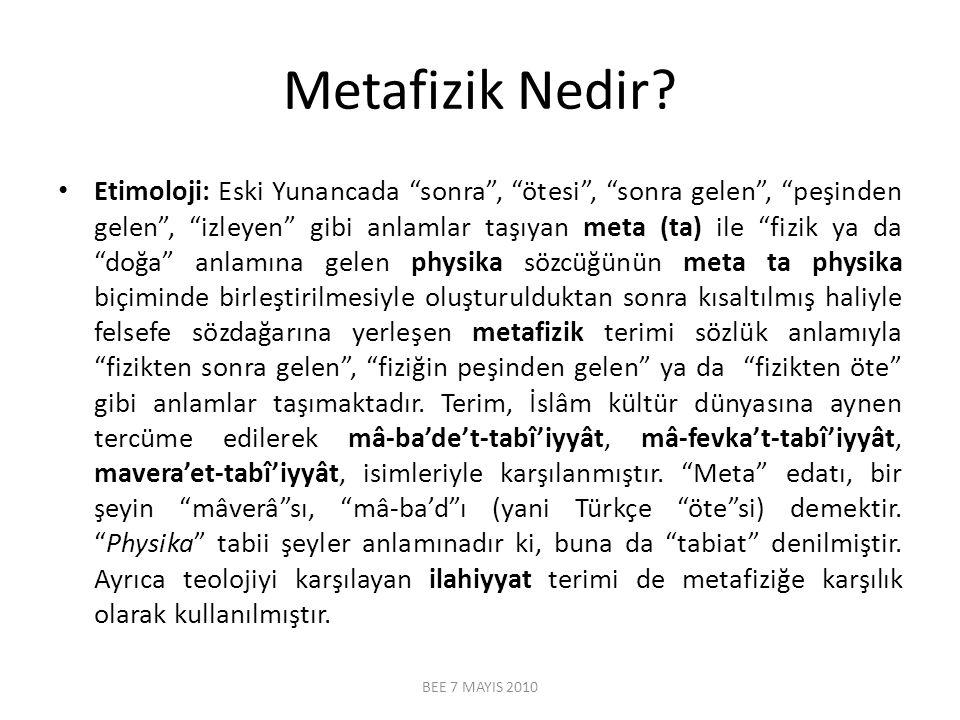 """Metafizik Nedir? Etimoloji: Eski Yunancada """"sonra"""", """"ötesi"""", """"sonra gelen"""", """"peşinden gelen"""", """"izleyen"""" gibi anlamlar taşıyan meta (ta) ile """"fizik ya"""