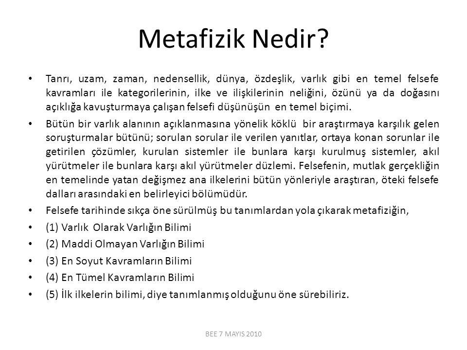 Metafizik Nedir? Tanrı, uzam, zaman, nedensellik, dünya, özdeşlik, varlık gibi en temel felsefe kavramları ile kategorilerinin, ilke ve ilişkilerinin
