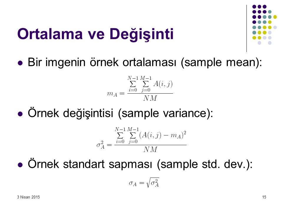 3 Nisan 201515 Ortalama ve Değişinti Bir imgenin örnek ortalaması (sample mean): Örnek değişintisi (sample variance): Örnek standart sapması (sample s
