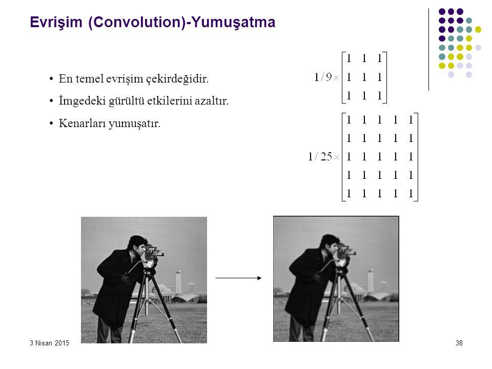 3 Nisan 201538 Evrişim (Convolution)-Yumuşatma En temel evrişim çekirdeğidir. İmgedeki gürültü etkilerini azaltır. Kenarları yumuşatır.