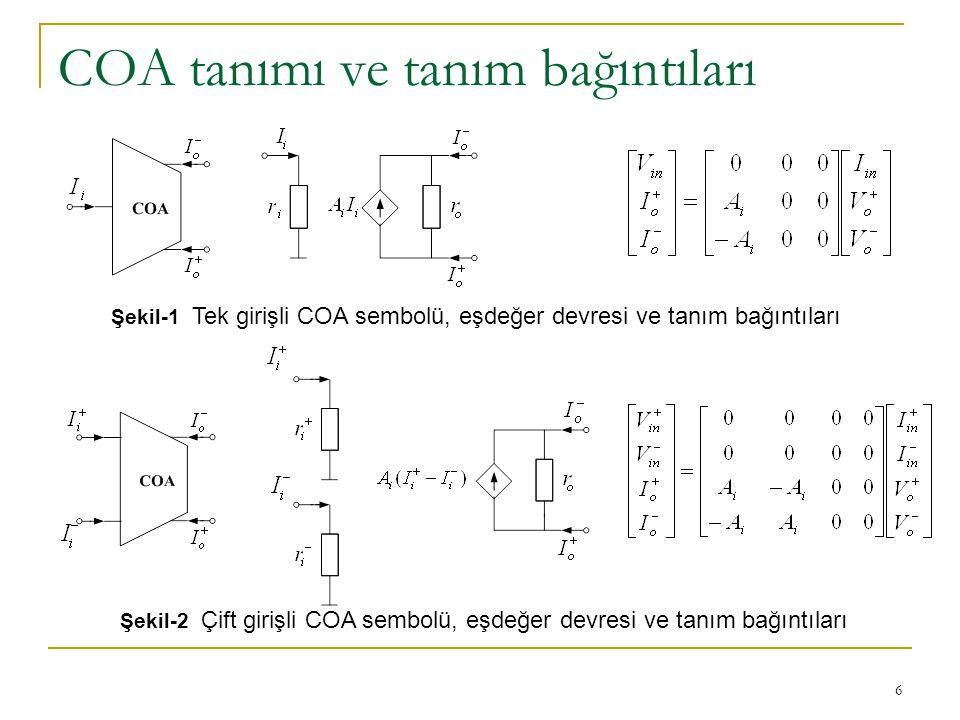 7 COA tanımı ve tanım bağıntıları İdealde, akım modlu işlemsel kuvvetlendiricinin giriş direnci sıfır, akım kazancı (A i ) ve çıkış direnci sonsuz olmalıdır.