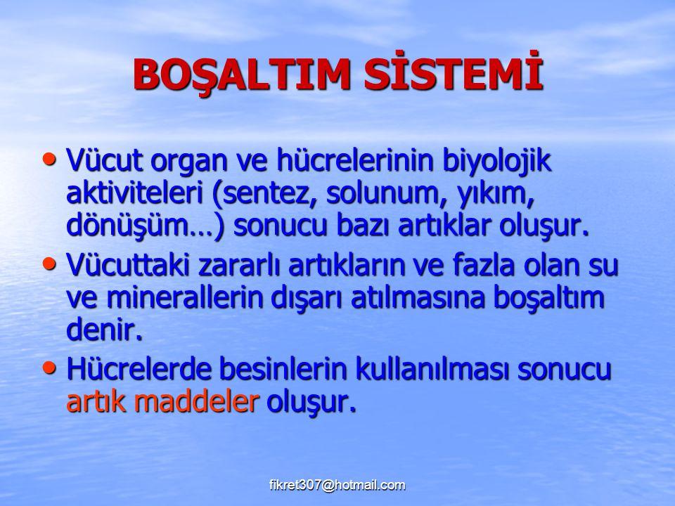 fikret307@hotmail.com BOŞALTIM SİSTEMİ Vücut organ ve hücrelerinin biyolojik aktiviteleri (sentez, solunum, yıkım, dönüşüm…) sonucu bazı artıklar oluş