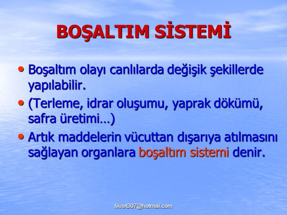 fikret307@hotmail.com BOŞALTIM SİSTEMİ Boşaltım olayı canlılarda değişik şekillerde yapılabilir. Boşaltım olayı canlılarda değişik şekillerde yapılabi