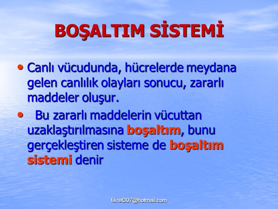 fikret307@hotmail.com BOŞALTIM SİSTEMİ Canlı vücudunda, hücrelerde meydana gelen canlılık olayları sonucu, zararlı maddeler oluşur. Canlı vücudunda, h