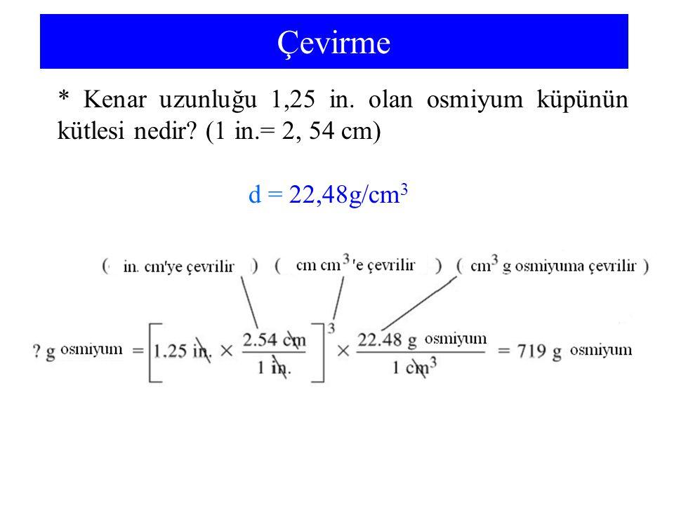 Çevirme * Kenar uzunluğu 1,25 in. olan osmiyum küpünün kütlesi nedir? (1 in.= 2, 54 cm) d = 22,48g/cm 3