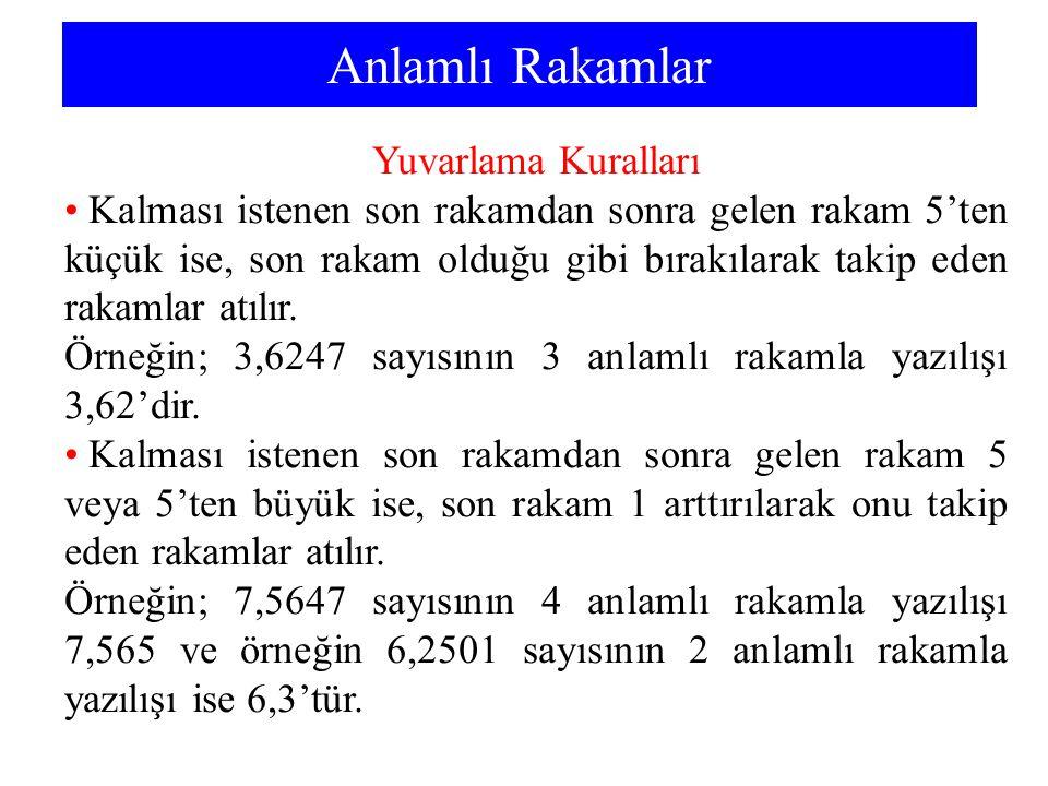 Anlamlı Rakamlar Yuvarlama Kuralları Kalması istenen son rakamdan sonra gelen rakam 5'ten küçük ise, son rakam olduğu gibi bırakılarak takip eden rakamlar atılır.