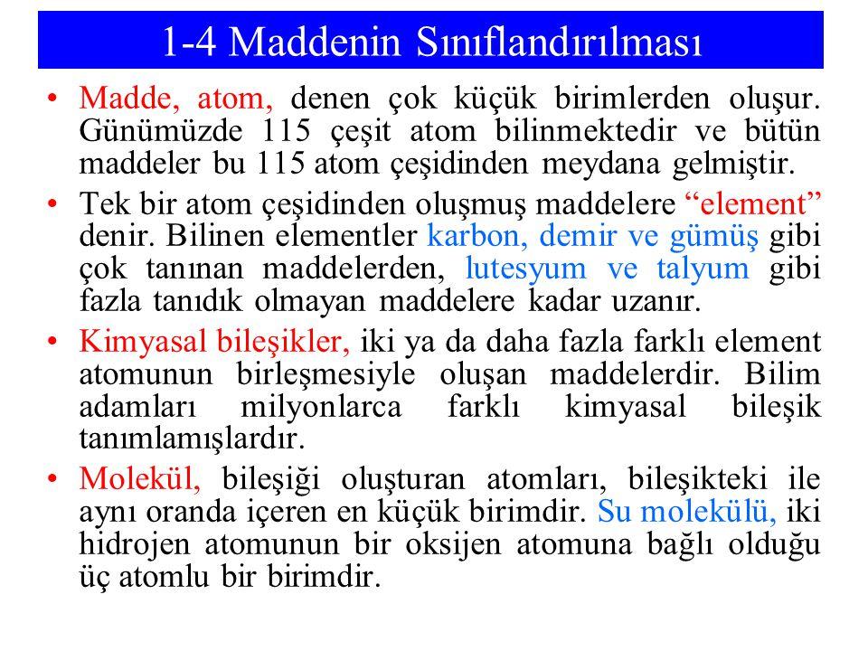 1-4 Maddenin Sınıflandırılması Madde, atom, denen çok küçük birimlerden oluşur. Günümüzde 115 çeşit atom bilinmektedir ve bütün maddeler bu 115 atom ç