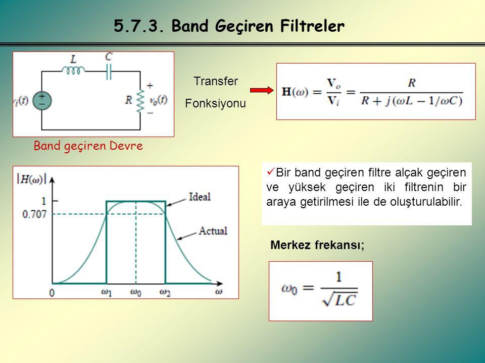 5.7.4. Band Söndüren Filtreler Band söndüren Devre Transfer Fonksiyonu Merkez frekansı;