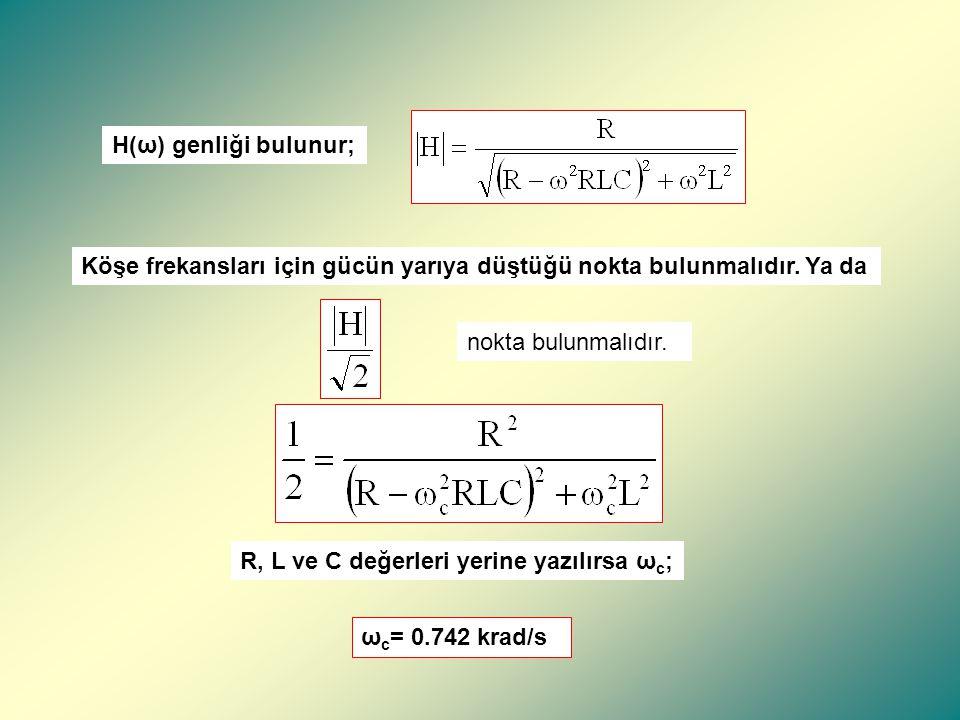 ÖRNEK Şekildeki BSF devresi 200 Hz merkez frekansında sönümleme yapıyorsa olması gereken L ve C değerlerini bulunuz.