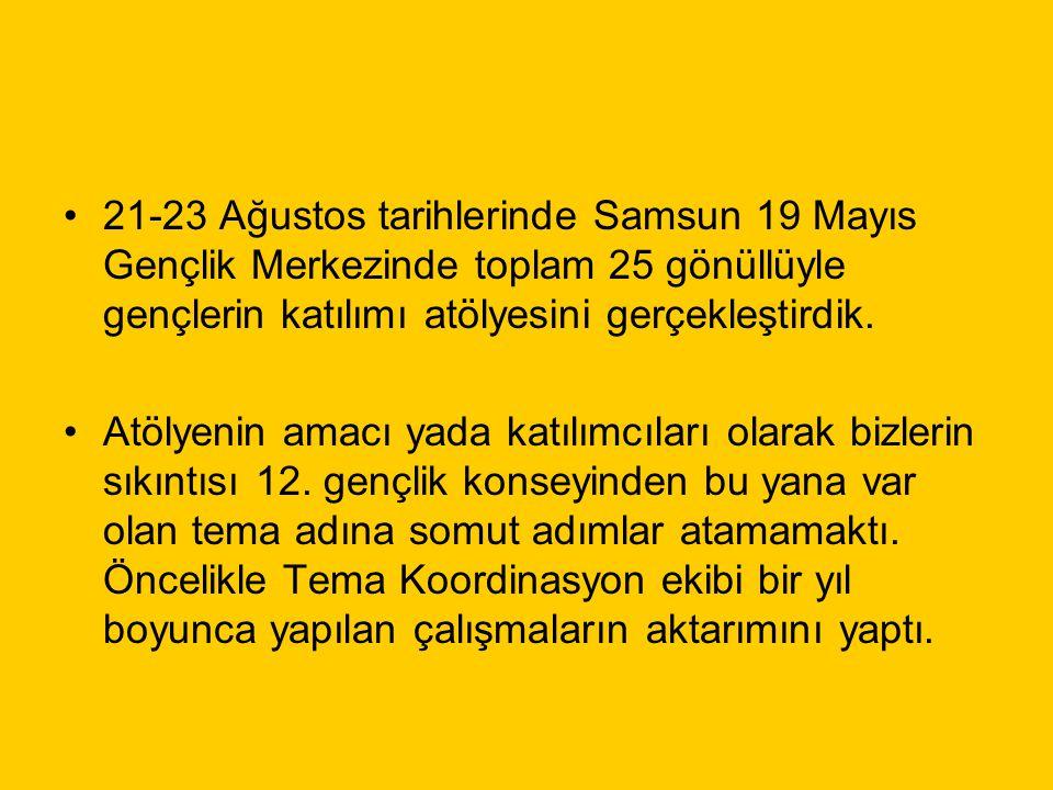 21-23 Ağustos tarihlerinde Samsun 19 Mayıs Gençlik Merkezinde toplam 25 gönüllüyle gençlerin katılımı atölyesini gerçekleştirdik. Atölyenin amacı yada