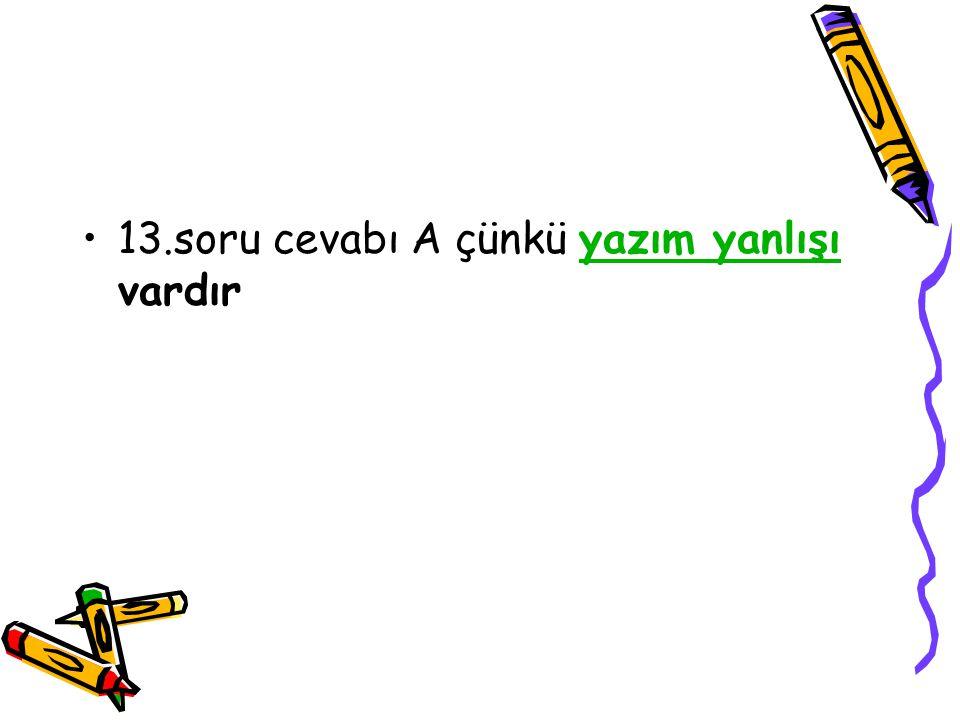13.soru cevabı A çünkü yazım yanlışı vardıryazım yanlışı