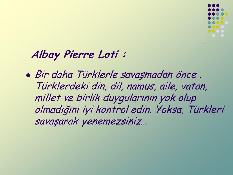 Albay Pierre Loti : Bir daha Türklerle savaşmadan önce, Türklerdeki din, dil, namus, aile, vatan, millet ve birlik duygularının yok olup olmadığını iy