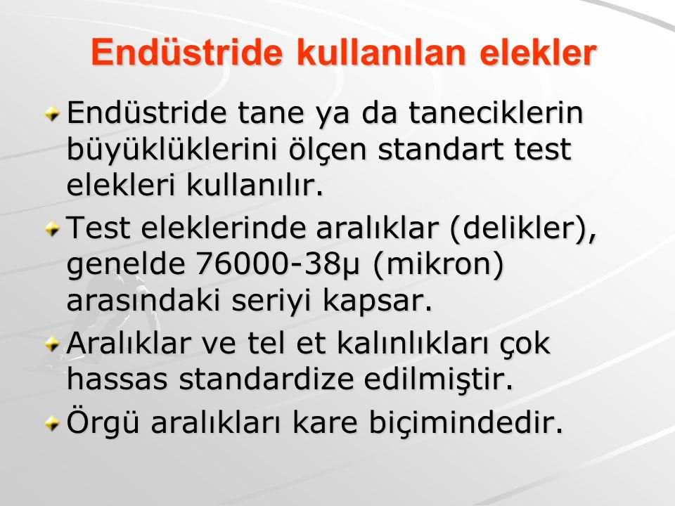 Endüstride kullanılan elekler Endüstride tane ya da taneciklerin büyüklüklerini ölçen standart test elekleri kullanılır. Test eleklerinde aralıklar (d