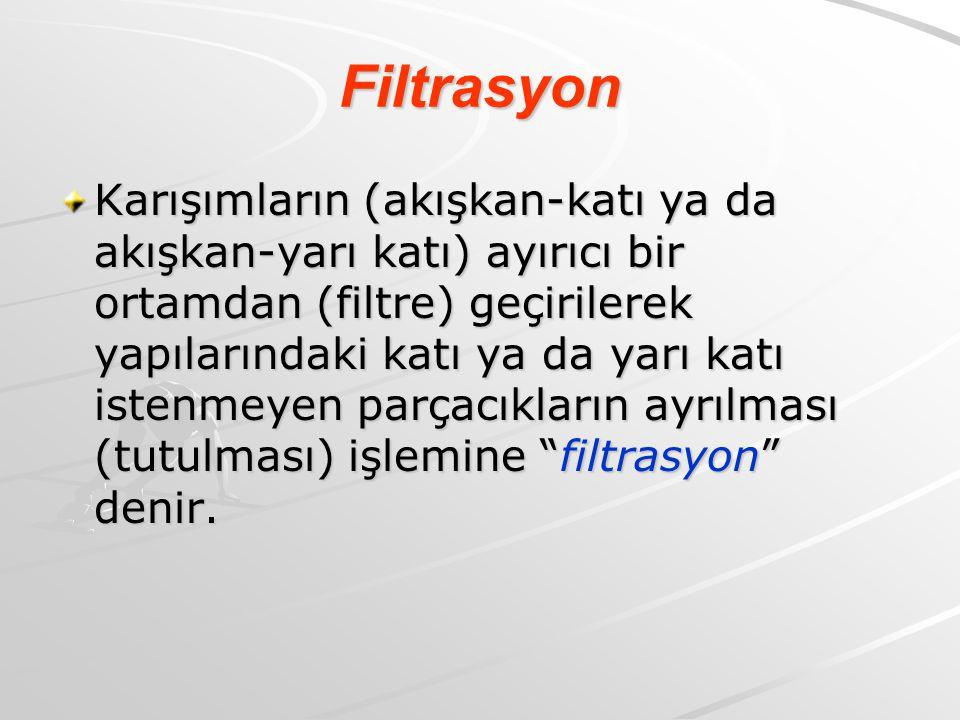 Filtrasyon Karışımların (akışkan-katı ya da akışkan-yarı katı) ayırıcı bir ortamdan (filtre) geçirilerek yapılarındaki katı ya da yarı katı istenmeyen