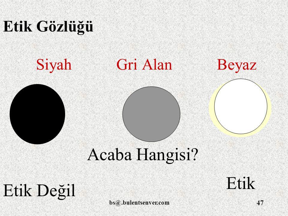 bs@.bulentsenver.com 47 Siyah Gri Alan Beyaz Etik Değil Etik Acaba Hangisi? Etik Gözlüğü