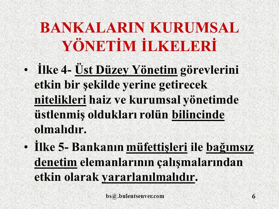 bs@.bulentsenver.com 77 KAPSAM Madde 1-Türk bankacılık sektörünü oluşturan bankalar bu metinle, gerek birbirleri, gerek müşterileri, gerekse de çalışanları ve diğer kurumlar arasındaki her türlü iş ve işlemlerde uygulanmak üzere, Bankacılık Etik İlkelerini belirlemişlerdir