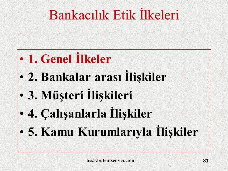 bs@.bulentsenver.com 81 Bankacılık Etik İlkeleri 1. Genel İlkeler 2. Bankalar arası İlişkiler 3. Müşteri İlişkileri 4. Çalışanlarla İlişkiler 5. Kamu