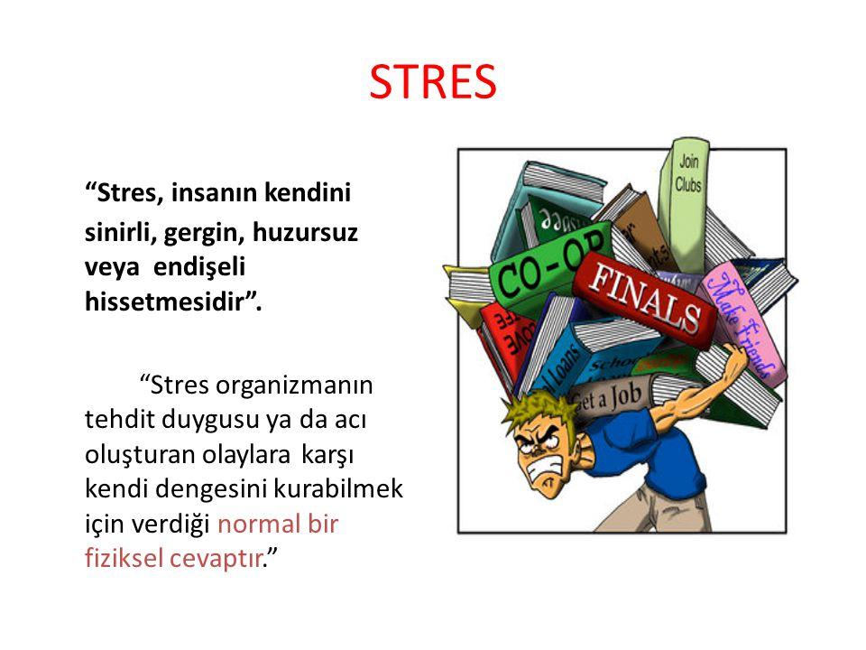 Stresin Bedendeki Gözlenebilir Belirtileri: Mide,baş ağrıları, Kalp atışında hızlanma, Sesin titremesi, Ellerin terlemesi, Ağzın kuruması, Ellerin titremesi, Dikkati toplayamama, Bulantı, baş dönmesi Göğüs ağrısı, çarpıntı
