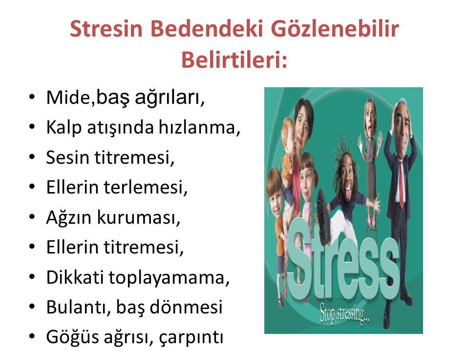 Stresin Bedendeki Gözlenebilir Belirtileri: Mide,baş ağrıları, Kalp atışında hızlanma, Sesin titremesi, Ellerin terlemesi, Ağzın kuruması, Ellerin tit