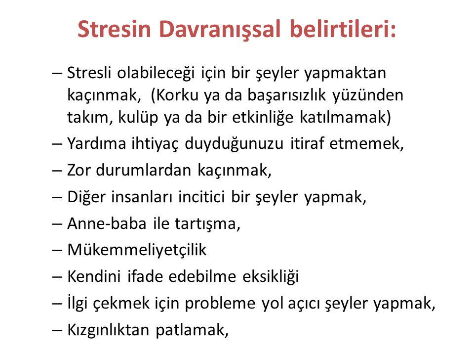 Stresin Davranışsal belirtileri: Gereğinden çok / az yemek Gereğinden çok / az uyumak Kendini soyutlamak (yalnızlaştırmak) Sorumlulukları ertelemek Rahatlama amaçlı alkol, sigara ya da ilaç kullanmak Tırnak yemek ya da volta atmak gibi sinirli davranışlar