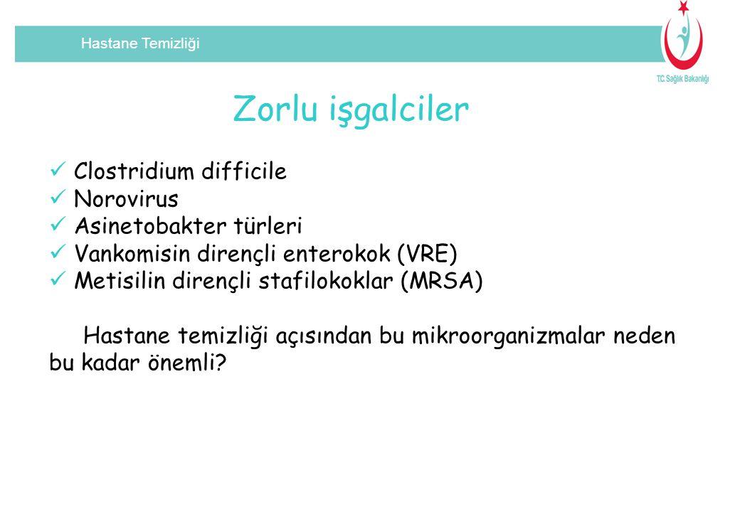 Hastane Temizliği Zorlu işgalciler Clostridium difficile Norovirus Asinetobakter türleri Vankomisin dirençli enterokok (VRE) Metisilin dirençli stafil