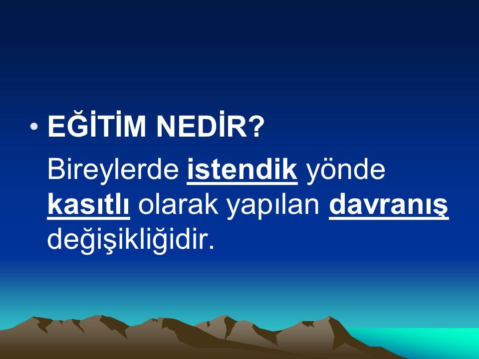İSTENDİK YÖNDE (Kim isteyecek) Devlet Anayasa Çok partili demokrasi Laiklik-Farklı inançları hoşgörülü İnsan haklarına saygı Sosyal hukuk devleti Atatürk ilke ve Atatürk Milliyetçiliği (Devletin egemen gücüne dayalı insan yetiştirme) (Uzak hedefler)