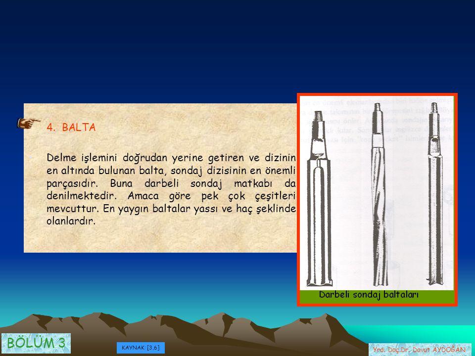 4. BALTA Delme işlemini doğrudan yerine getiren ve dizinin en altında bulunan balta, sondaj dizisinin en önemli parçasıdır. Buna darbeli sondaj matkab