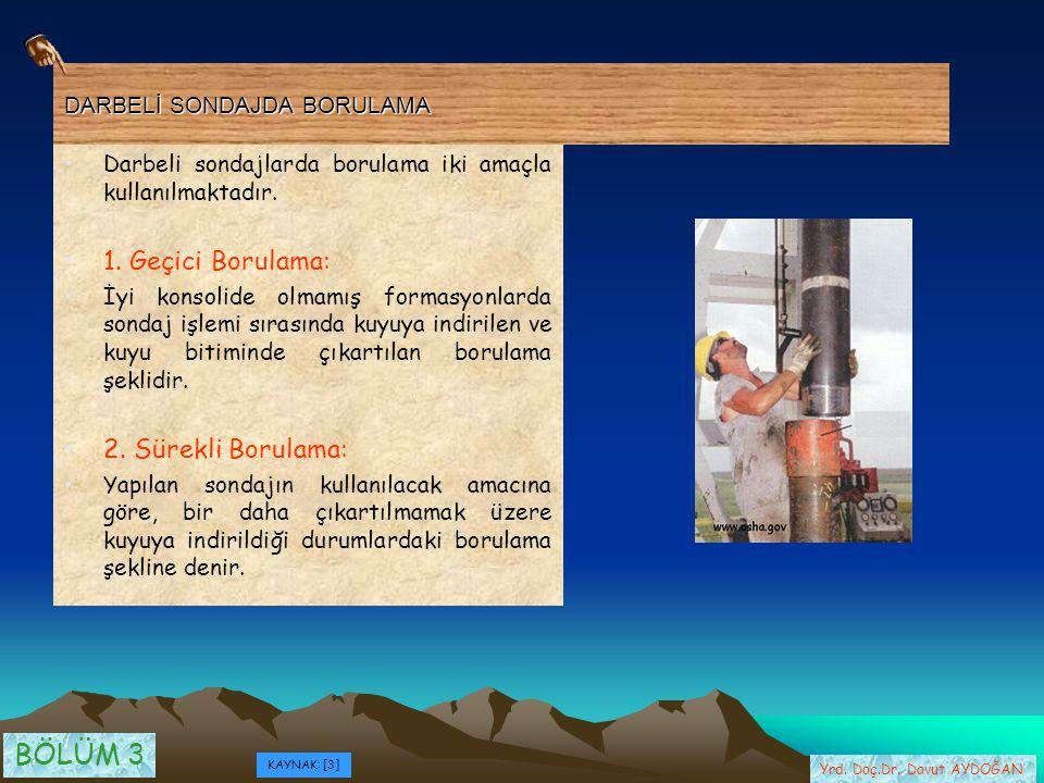 DARBELİ SONDAJDA BORULAMA Darbeli sondajlarda borulama iki amaçla kullanılmaktadır. 1. Geçici Borulama: İyi konsolide olmamış formasyonlarda sondaj iş