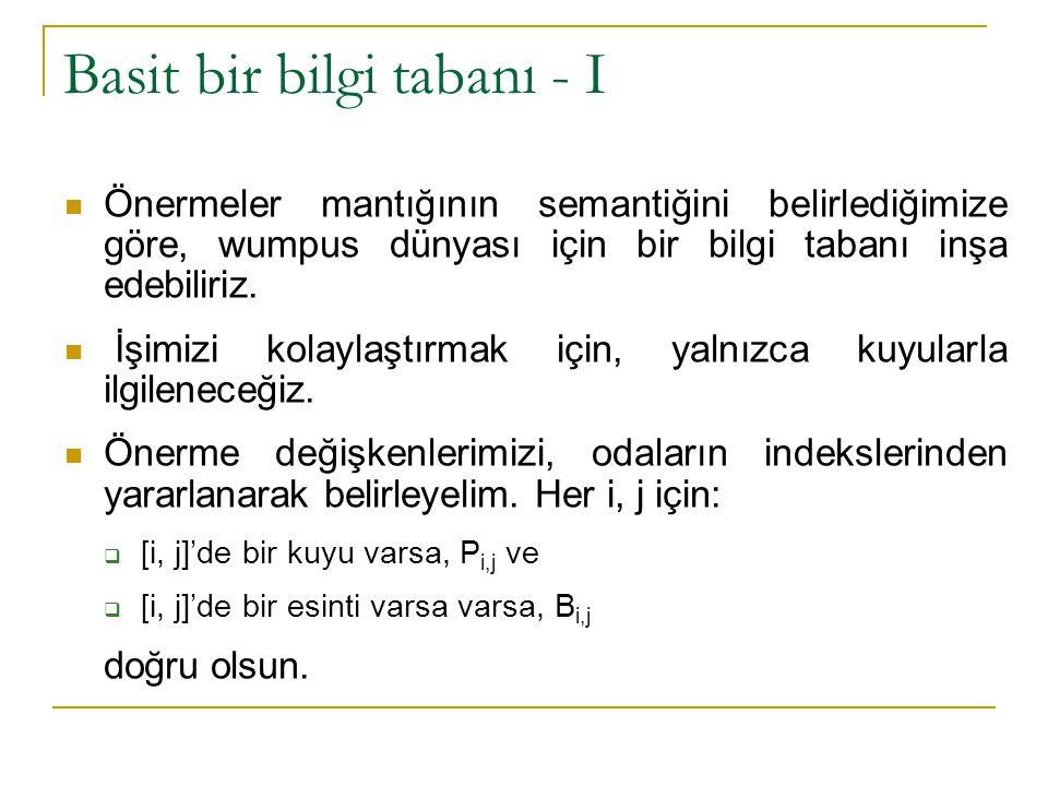 Basit bir bilgi tabanı - II Bilgi tabanı (BT), aşağıdaki (R i ile gösterdiğimiz) cümleleri içerecektir.