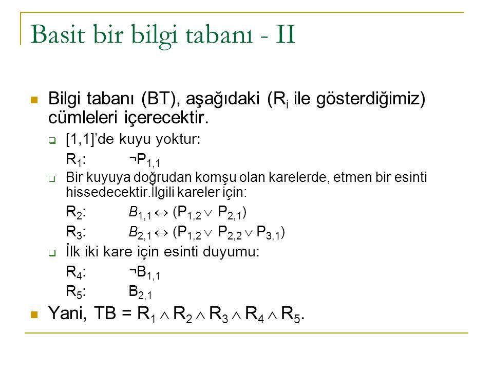 Basit bir bilgi tabanı - II Bilgi tabanı (BT), aşağıdaki (R i ile gösterdiğimiz) cümleleri içerecektir.  [1,1]'de kuyu yoktur: R 1 : ¬ P 1,1  Bir ku