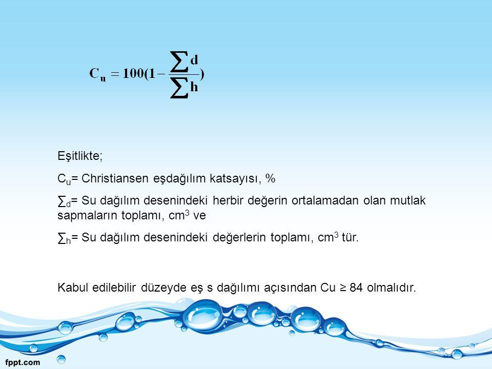 Eşitlikte; C u = Christiansen eşdağılım katsayısı, % ∑ d = Su dağılım desenindeki herbir değerin ortalamadan olan mutlak sapmaların toplamı, cm 3 ve ∑