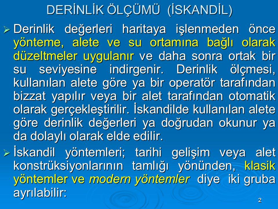 43 MODERN DERİNLİK ÖLÇME YÖNTEMLERİ  2.
