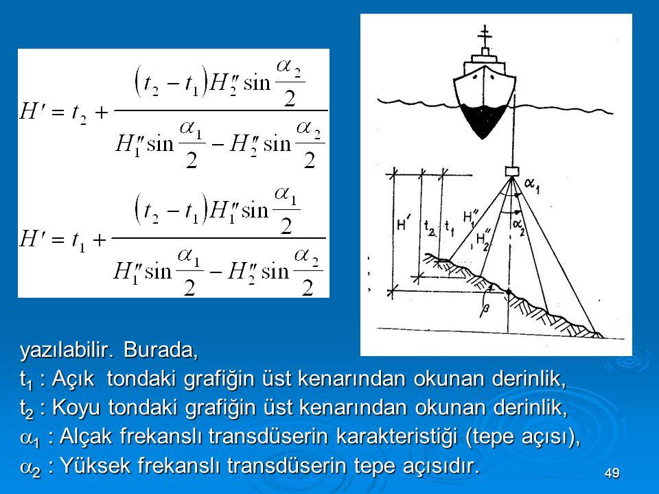 49  yazılabilir. Burada, t 1 : Açık tondaki grafiğin üst kenarından okunan derinlik, t 2 : Koyu tondaki grafiğin üst kenarından okunan derinlik,  1