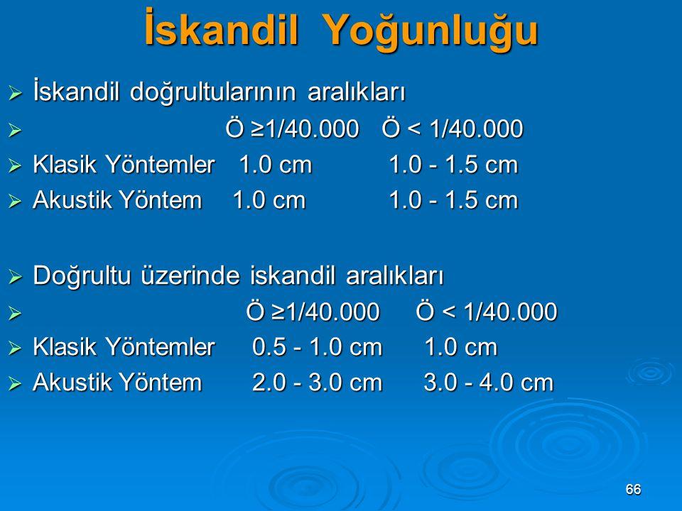 66 İskandil Yoğunluğu  İskandil doğrultularının aralıkları  Ö ≥1/40.000 Ö < 1/40.000  Klasik Yöntemler 1.0 cm 1.0 - 1.5 cm  Akustik Yöntem 1.0 cm 1.0 - 1.5 cm  Doğrultu üzerinde iskandil aralıkları  Ö ≥1/40.000 Ö < 1/40.000  Klasik Yöntemler 0.5 - 1.0 cm 1.0 cm  Akustik Yöntem 2.0 - 3.0 cm 3.0 - 4.0 cm