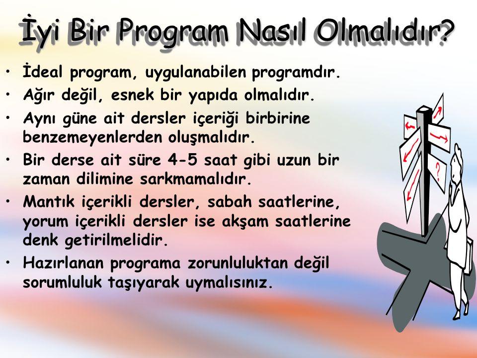 Program Nasıl Hazırlanır? 1. Aşama –Eksiklerinizi tespit etmeli, –Her ders ile ilgili hangi konuları öğreneceğinizi belirlemeli, –Bunları sıralamalısı