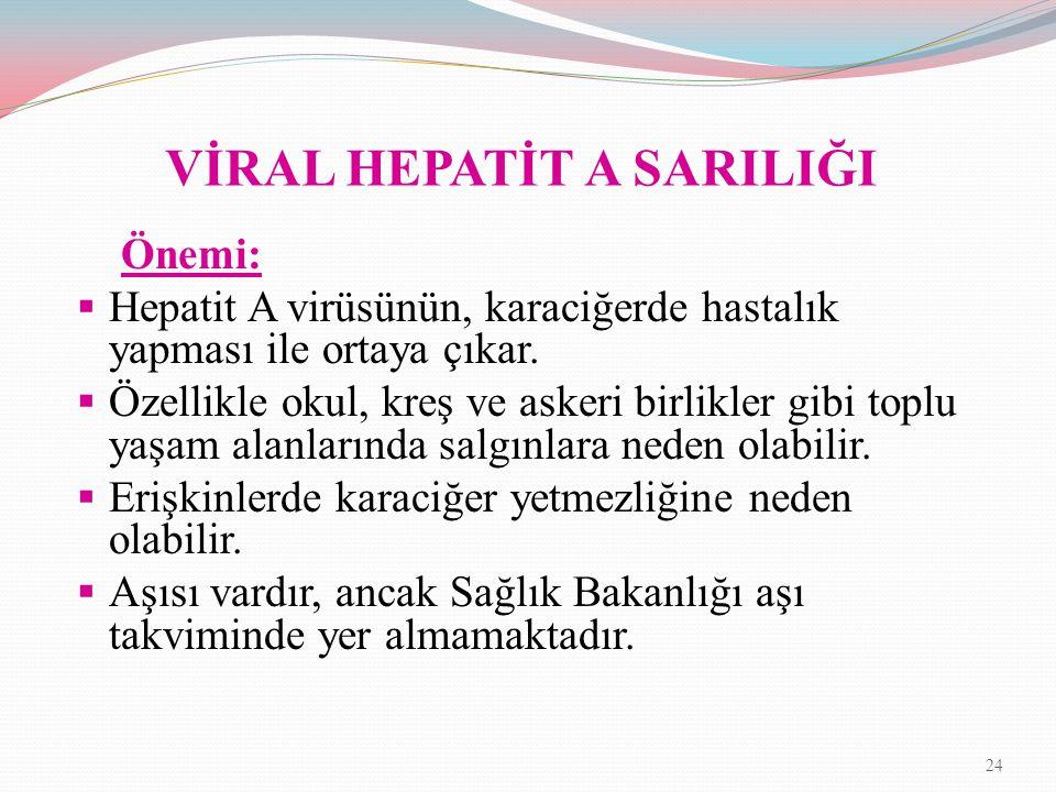 VİRAL HEPATİT A SARILIĞI Önemi:  Hepatit A virüsünün, karaciğerde hastalık yapması ile ortaya çıkar.  Özellikle okul, kreş ve askeri birlikler gibi
